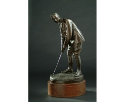 Herausragende Golffigur in Bronze, signiert  F.J. Williamson